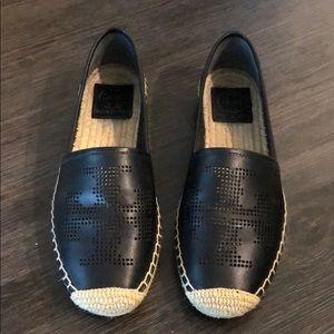 Tory Burch Black Leather Espadrilles